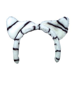 Kids Girls Snow Tiger Stripe White And Black Cat Ear Headband Costume Accessory