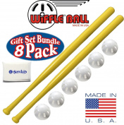 Wiffle Ball 6 Baseballs Official Size - 6 Pack and Wiffle Ball 80cm Bats 2 Pack, Gift Set Bundle + Bonus NOIS Tissue Pack