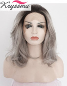 K'ryssma Grey Ombre Short Bob Wigs for Black Women Natural Wavy Dark Roots Synthetic Lace Front Wig Half Hand Tied Heat Friendly 36cm