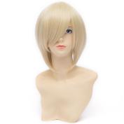 QIYUN.Z Alois Trancy Black Butler Short Straight Blond Bob Unisex Cosplay Anime Costume Synthetic Fibre Hair Heat Resistant Full Wig For Women