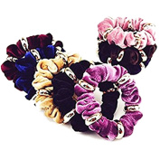 Cuhair(tm) 10pcs Women Girl Large Velvet Hair Scrunchie with Metal Elastic Hair Band Ponytail Holder Tie Accessories by cuhair
