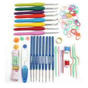 Economic DIY Crochet Hooks Needles 16 Sizes Home Supplies Stitches Knitting Craft Case Set,random colour