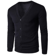 Sinwo Men Autumn Winter Button V Neck Long Sleeve Knit Sweater Cardigan Coat Outwear