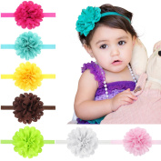 Baby Flower Headband, Coxeer 12 Pcs Hollow Handmade Flower Elastic Hairband Accessories for Baby Girls Toddlers