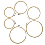 Pistha Embroidery Hoops, 6pcs 3 Sizes(10cm ,13cm ,15cm ) Round Bamboo Cross Stitch Hoop Ring Quilting Needlecraft Needlework Circle Set for DIY Art Craft Painting Decor Frame Home Wedding Decoration