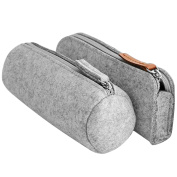 2 PCS 2 Style Fashion Felt Pencil Case Bag Pen Eraser Ruler Pouch Holder School Supplies for Students Writers Painters