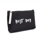 Sinwo Women Girl Cute Canvas Letters Cosmetic Bag Zipper Coin Purse Wallet Card Holders Handbag