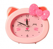S.W.H Lovely Cartoon Cat Snooze Alarm Clock Bedside Table Clock for Boys Girls Heavy Sleepers