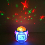 Eiiox 1x Music Starry Sky /Colour Change LED Projector Alarm Clock
