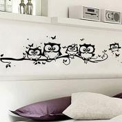 DaoRier Black Owl Wall Sticker Vinyl Pegatinas Decal Wall Decorations Home Decor Window Door Stickers