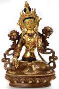 White Tara Tibetan Buddha Bronze teilfeuervergoldet and Hand-Painted 8.5 CM High