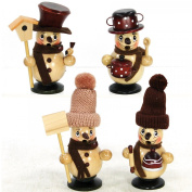 Sigro 4 Assorted Benny And Jenny Snowman Incense Smokers Figure, 12 cm, Beige/Brown
