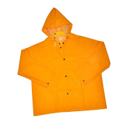 """G & F 333M 48"""" Long Heavy Weight 35mm PVC Over Polyester Rain Suit with Hood, Long Raincoat Heavy Duty, Medium, Yellow"""