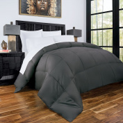 Zen Bamboo Luxury Goose Down Alternative Comforter with Bamboo/Microfiber Blend Shell - All Season Hotel Quality Hypoallergenic Duvet Insert - Full/Queen - Grey