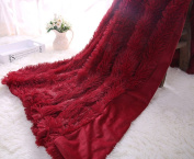 "YOUSA Super Soft Long Shaggy Fuzzy Fur Faux Fur Warm Elegant Cosy With Fluffy Sherpa Throw Blanket 51""63"",Wine Red"