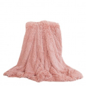"YOUSA Super Soft Shaggy Faux Fur Blanket Ultra Plush Decorative Throw Blanket 63""79"",Peachy Beige"