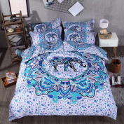 Sandyshow 3PC India Elephant Bedding Full/Queen Bohemia Microfiber Duvet Cover Set, Mandala Design