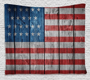 HommomH 150cm x 200cm Blanket Comfort Warmth Soft Cosy Air conditioning Easy Care Machine Wash USA Flag Wooden Looking Flag Pattern