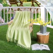 HollyHOME Throw Blanket Lemon Green 50x60 Luxury Soft Microfiber All Season Blanket with Tassels, ideal for Bed or Couch