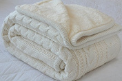 Classic All Season Soft Cable Sweater Knitting Throw Blanket Quilted Throws with Sherpa Lining for Bed Sofa Couch Decor Cream 130cm x 160cm