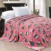 BOON Light Weight Small World Collection Printed Flannel Fleece Blanket Cities of the World Pink