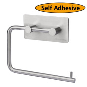 HOMEIDEAS 3M Self-adhesive Toilet Paper Holder Tissue Paper Roll Towel Hanger Stainless Steel Brushed Finish
