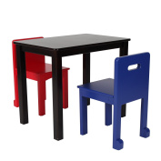 Max & Lily Espresso Wood Kid and Toddler Rectangular Table + Chairs