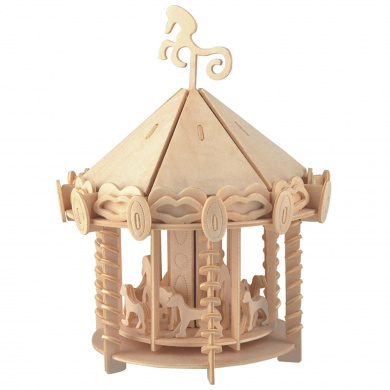 New Assembly DIY Education Toy 3D Wooden Model Puzzles Of Children Carrousel