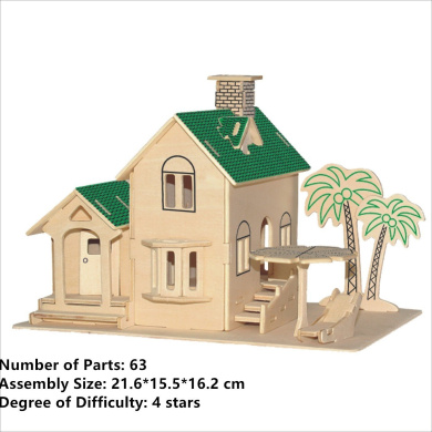 New Assembly DIY Education Toy 3D Wooden Model Puzzles Of Sea View Villa Green
