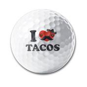 I Love Tacos White Elastic Golf Balls Practise Golf Balls Golf Training Aid Balls