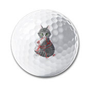 Cat With Ball Of Yarn White Elastic Golf Balls Practise Golf Balls Golf Training Aid Balls