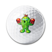 Boxing Cactus With Boxing Gloves Sunglass White Elastic Golf Balls Practise Golf Balls Golf Training Aid Balls