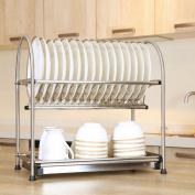 WiseLife Dish Rack Stainless Steel 2-Tier Draining Rack Rustless Storage Rack Kitchen Supplies Drying Frame