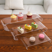 Set of 3 Clear Acrylic Curved Design Nesting Cupcake Dessert Risers, Retail Display Stands