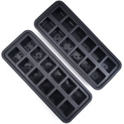 24 Cube Silicone Ice Cube Trays (2 Pack of 12 Ice Cubes Trays) Odour Free & No Aftertaste - Easy Release Soft Silicone Ice Moulds - Perfect for Large or Small Ice Cubes