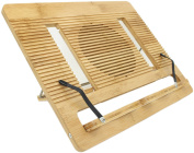 Book Stand Ucharge Bamboo Adjustable and Portable Cookbook Reading Stand and Holder Portable Folding Document Bookrest with 6 Adjustable Positions