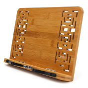 BamBoo Book Stand -HENGSHENG Reading Rest Cookbook Cook Stand/Tablet PC textbook/Music Document Stand with Retro Hollow Elegant Pattern