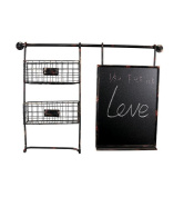 TRRE@ Vintage Irons Shelf with Message Board Wall Interior Industrial Wall Shelf Decoration 72.5*53cm Shelf Accessories