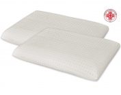 MARCAPIUMA - Set of 2 Memory Foam Pillows - Classic Shape - 100% COTTON Protector Cover - Orthopaedic Memory Pillow for Neck Pain and Cervical Pain with Breathable Holes - MEDICAL DEVICE Class 1 - CE MARKING - 100% Made in Italy