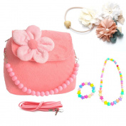 Little Girls Kids Plush Flower First Purse Mini Handbag Shoulder Bag Set with Hairpins Necklace Bracelet for Toddler and Preschoolers Pink by Candice's Sweet