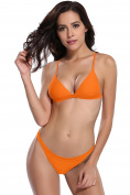 SHEKINI Women's Two Pieces Triangle Bikini Set Padded Solid Colour Printing Swimsuit