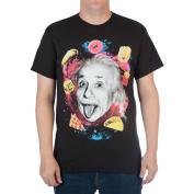 Big Men's Albert Einstein and Food in Space Cotton Graphic Tee