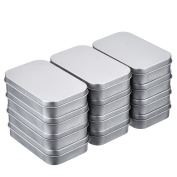 Shappy 12 Pack 3.75 by 6.2cm by 2cm Silver Metal Rectangular Empty Hinged Tins Box Containers Mini Portable Box Small Storage Kit, Home Organiser