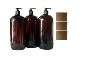 950ml Amber Plastic PET Plastic Bottle with Black Hand Lotion Pump and Kraft Labels