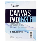 Artlicious - 12x16 Canvas Pads, 10 Sheets, 100% Duck Canvas, Triple Primed, Alternative to Stretched Canvas, Panels or Boards
