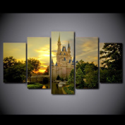 5 PCS Framed Cinderella Castle Canvas Painting/Prints - 5 PCS Framed Castle Of Cinderella Canvas For Home/Office Room Wall Decor
