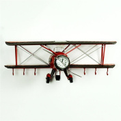 TRRE@ American Vintage Aircraft Pendant with Wall Clock Creative Bar Cafe Wall Decorations 42*16*16cm Shelf Accessories