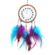 Blue Purple Dream Catcher Circular With Feather Bead Shells Wall Hanging Decoration Dreamcatcher Net Christmas Gift
