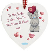 TO MY WIFE I LOVE YOU TO THE MOON AND BACK Me To You Hanging Wooden Heart Plaque Sign Birthday Christmas Valentines Day Wedding Anniversary Gift Gifts Ornament Decoration Romantic Presents for