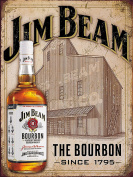 JIM BEAM THE BOURBON SINCE 1795 RETRO METAL TIN WALL PLAQUE/SIGN NOVELTY GIFT BAR PUB MAN CAVE